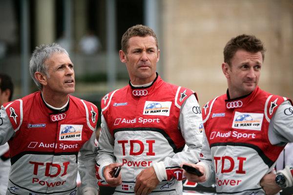 Circuit de La Sarthe, Le Mans, France. 5th - 12th June 2011.Tom Kristensen / Rinaldo Capello / Allan McNish, Audi Sport Team Joest, Audi R18 TDI. Portrait. Photo: Drew Gibson/LAT Photographic.  ref: Digital Image _Y2Z3350