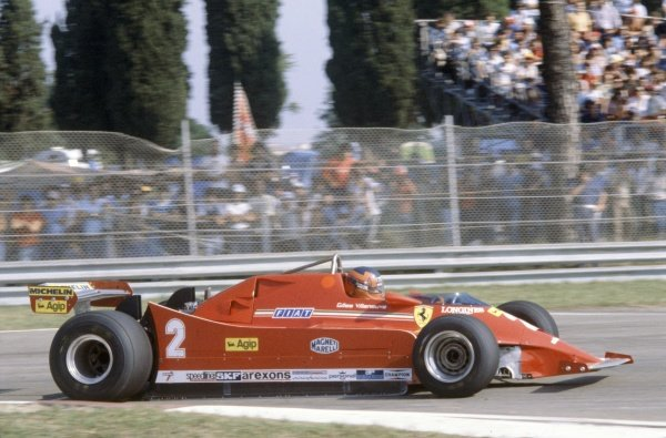 1980 Italian Grand Prix. Imola, Italy. 12-14 September 1980. Gilles Villeneuve (Ferrari 126 turbo) in practice. World Copyright: LAT Photographic Ref: 80ITA11