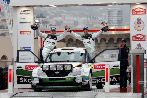 2013 World Rally Championship Monte Carlo Rally 15th - 20th January 2013 Sepp Wiegand, Christian Frank, Skoda, podium Worldwide Copyright: McKlein/LAT