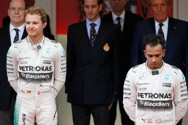 Monte Carlo, Monaco. Sunday 24 May 2015. n1st and Lewis Hamilton, Mercedes AMG, 3rd Position, on the podium. World Copyright: Glenn Dunbar/LAT Photographic. ref: Digital Image _89P2458