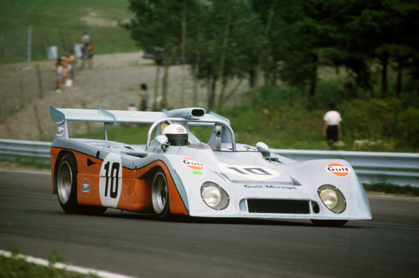 Watkins Glen, New York State, USA. 22nd July 1972. Rd 11. Derek Bell/Carlos Pace (Mirage M6 Ford), 3rd position, action.  World Copyright: LAT Photographic. Ref:  72SCARS