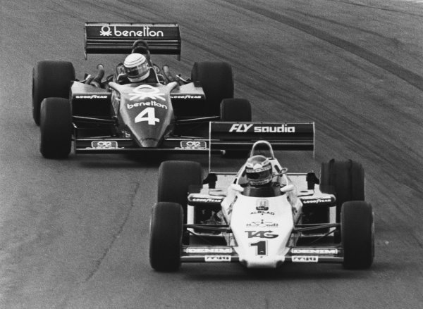 1983 European Grand Prix. Brands Hatch, England. 23rd - 25th September 1983. Keke Rosberg (Williams FW08C-Ford), retired, leads Danny Sullivan (Tyrrell 012-Ford), retired, action. World Copyright: LAT Photographic.