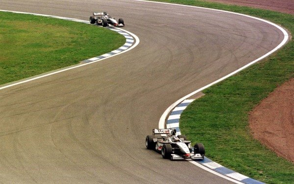 1998 Spanish Grand Prix.Catalunya, Barcelona, Spain.8-10 May 1998.Mika Hakkinen leads David Coulthard (both McLaren MP4/13 Mercedes-Benz). They finished in 1st and 2nd positions respectively.World Copyright - LAT Photographic