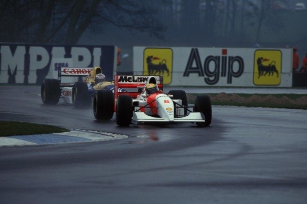 Ayrton Senna, McLaren MP4-8 Ford, leads Alain Prost, Williams FW15C Renault.