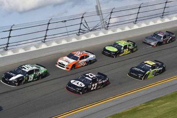 #19: Brandon Jones, Joe Gibbs Racing, Toyota Supra Juniper nd #23: John Hunter Nemechek, GMS Racing, Chevrolet Camaro Fire Alarm Services, INC