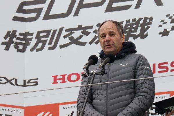 Super GT - DTM Dream Race. Gerhard Berger makes a speech from the podium. Race one