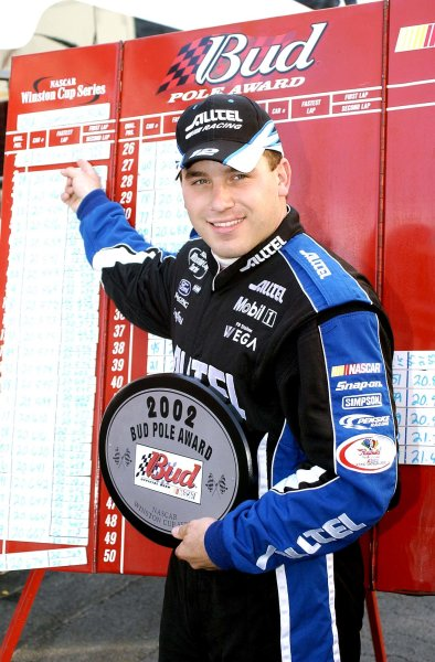 2002 NASCAR,Martinsville Speedway,Virginia,USA,Old Dominion 500, October 18-20, 2002 USA-Ryan Newman pointing to winning pole time,Copyright-Robt LeSieur2002LAT Photographic