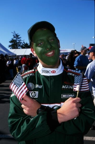 Jaguar fans were green with envy. American Grand Prix, Indianapolis, USA, 30 September 2001.