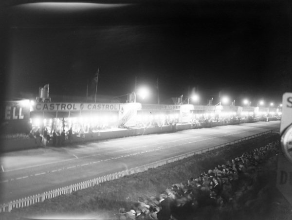 The pits lit up during the night.