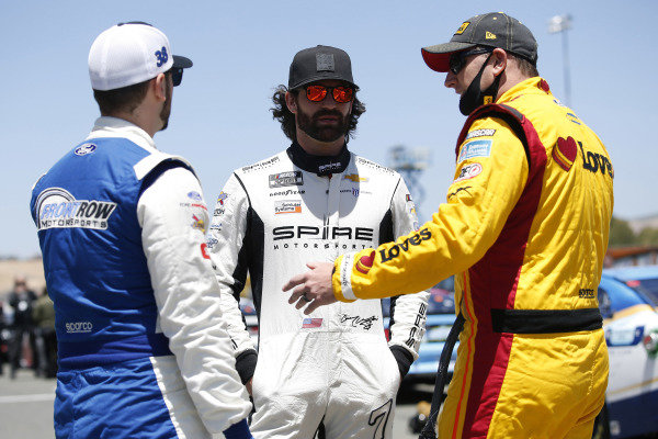 #7: Corey LaJoie, Spire Motorsports, Chevrolet Camaro Nations Guard, #34: Michael McDowell, Front Row Motorsports, Ford Mustang Love's Travel Stops and #38: Anthony Alfredo, Front Row Motorsports, Ford Mustang MDS