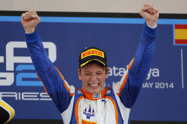 Race one winner Johnny Cecotto (COL) Trident celebrates on the podium. GP2 Series, Rd2, Barcelona, Spain, 9-11 May 2014.