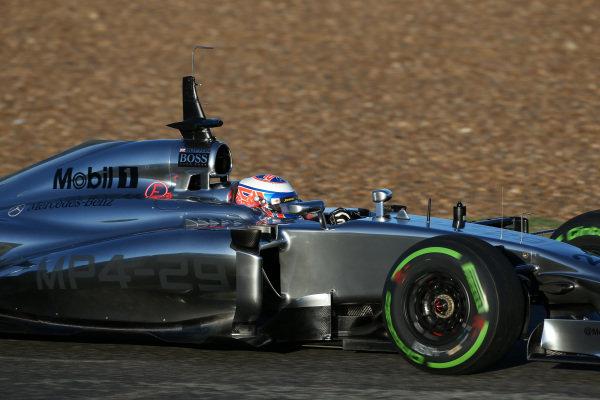 Jenson Button (GBR) McLaren MP4-29. Formula One Testing, Jerez, Spain, Day Three, Thursday 30 January 2014.