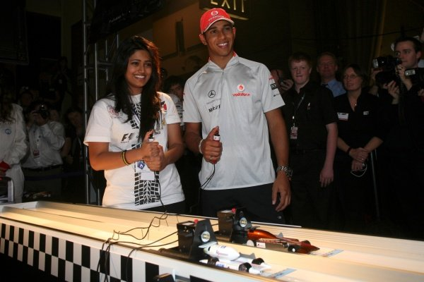Lewis Hamilton (GBR) McLaren tries his hand at racing one of the competing vehicles. F1 in Schools World Championships 2009, Royal Horticultural Halls, London, England, 17 September 2009.