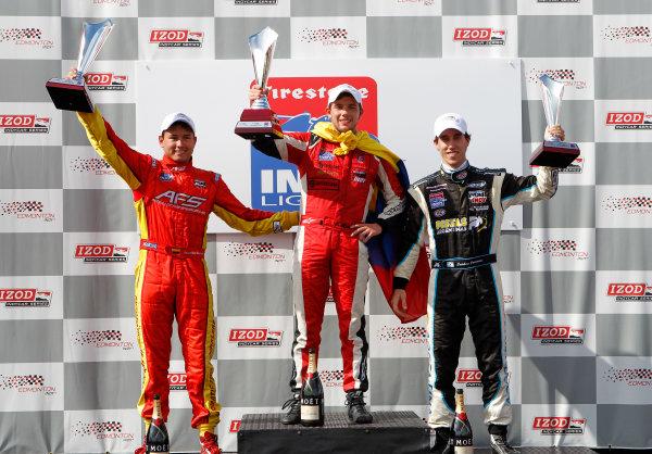 20-21 July, 2012, Edmonton, Alberta CAIndy Lights podium (L-R): Sebastian Saavedra (P2), Carlos Munoz (P1) and Esteban Guerrieri (P3).(c)2012, Phillip AbbottLAT Photo USA