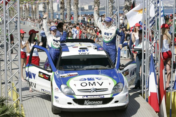 2005 FIA World Rally Champs. Round SixCyprus Rally 12th - 15th May 2005.Podium - Manfred Stohl / Iika Minor (Citroen Xsara WRC 2004). 2nd.World Copyright: McKlein/LAT