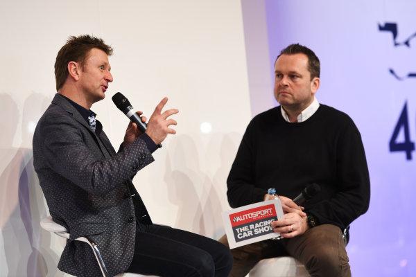 Autosport International Exhibition. National Exhibition Centre, Birmingham, UK. Sunday 15 January 2017. Allan McNish talks to Henry Hope-Frost on the Autosport Stage. World Copyright: Sam Bagnall/LAT Images Ref: DSC_5228