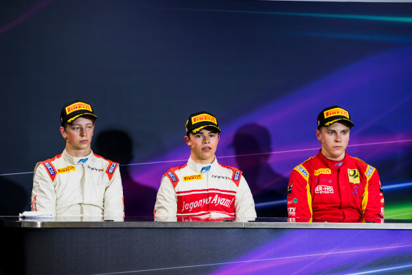 2017 FIA Formula 2 Round 3. Monte Carlo, Monaco. Saturday 27 May 2017. Johnny Cecotto Jr. (VEN, Rapax), Nyck De Vries (NED, Rapax) and Gustav Malja (SWE, Racing Engineering). Photo: Zak Mauger/FIA Formula 2. ref: Digital Image _56I7766