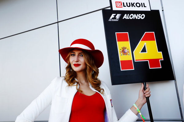 Sochi Autodrom, Sochi, Russia. Sunday 30 April 2017. grid Girl holding Fernando Alonso's grid board World Copyright: Steven Tee/LAT Images ref: Digital Image _O3I0901