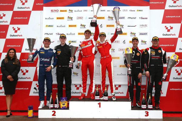 2017 British GT Championship, Oulton Park, 15th-17th April, 2017, Race 2 GT4 Podium  World copyright. JEP/LAT Images