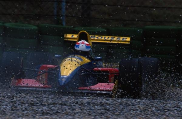 Philippe Alliot (FRA) Larrousse LH93 goes off during practice. German Grand Prix, Hockenheim, 25 July 1993