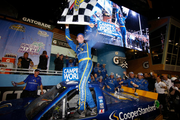 NASCAR Camping World Truck Series Ford EcoBoost 200 Homestead-Miami Speedway, Homestead, FL USA Friday 17 November 2017 Chase Briscoe, Cooper Standard Ford F150 victory lane World Copyright: Lesley Ann Miller LAT Images