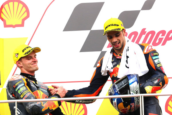 2017 Moto2 Championship - Round 17 Sepang, Malaysia. Sunday 29 October 2017 Podium: race winner Miguel Oliveira, Red Bull KTM Ajo, second place Brad Binder, Red Bull KTM Ajo World Copyright: Gold and Goose / LAT Images ref: Digital Image 26786