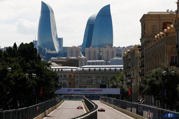 Baku City Circuit, Baku, Azerbaijan. Friday 23 June 2017. Kimi Raikkonen, Ferrari SF70H, and Sebastian Vettel, Ferrari SF70H. World Copyright: Andrew Hone/LAT Images ref: Digital Image _ONY8401