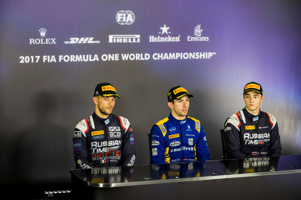 2017 FIA Formula 2 Round 6. Silverstone, Northamptonshire, UK. Sunday 16 July 2017. Luca Ghiotto (ITA, RUSSIAN TIME), Nicholas Latifi (CAN, DAMS), Artem Markelov (RUS, RUSSIAN TIME).  Photo: Zak Mauger/FIA Formula 2. ref: Digital Image _56I0831