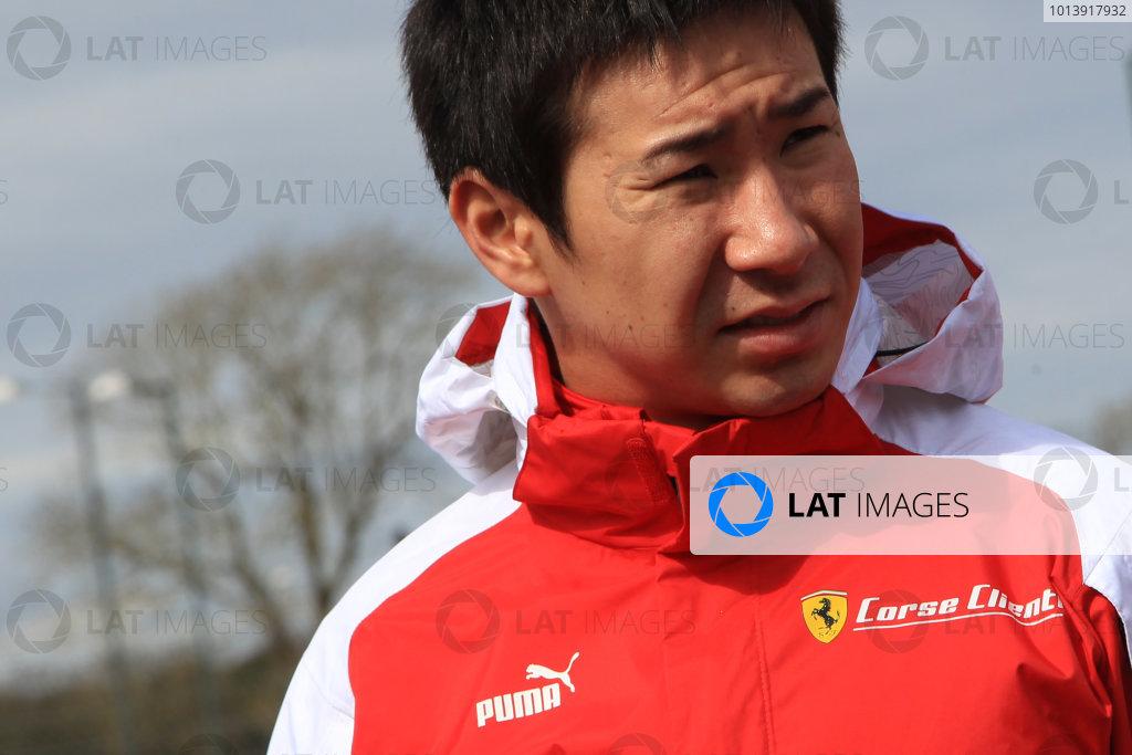2013 FIA WEC Championship, Silverstone, Northamptonshire. 12th - 14th April 2013. Kamui Kobayashi -  AF Corse Ferrari 458 Italia World Copyright: Ebrey / LAT Photographic.