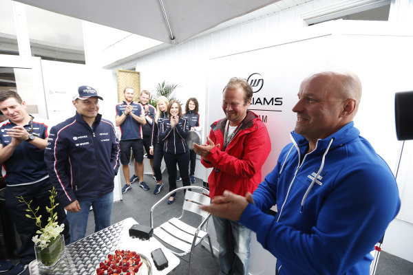 8th June 2013 Valtteri Bottas, Williams F1 celebrates his father, Rauno Bottas'  World Copyright: Charles Coates/  ref: Digital Image _N7T6069