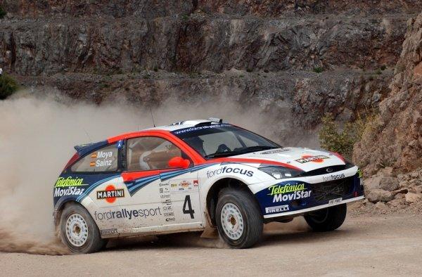 Carlos Sainz (ESP) Ford Focus RS WRC 02World Rally Championship,  Acropolis Rally Shakedown. 13 June 2002.DIGITAL IMAGE