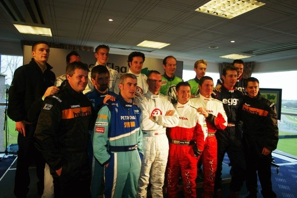 The 2002 BTCC divers line up for a pre-season photo opportunity.