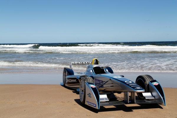 FIA Formula E Test Day. Formula E Car on the beach. Punta Del Este, Uruguay, South America. Formula E Third Race Event, 11th - 14th December 2014. Sunday 14 December 2014.  Photo: Adam Warner/LAT/FE ref: Digital Image _L5R5190