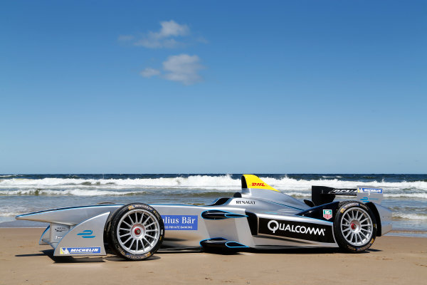 FIA Formula E Test Day. Formula E Car on the beach. Punta Del Este, Uruguay, South America. Formula E Third Race Event, 11th - 14th December 2014. Sunday 14 December 2014.  Photo: Adam Warner/LAT/FE ref: Digital Image _L5R5067