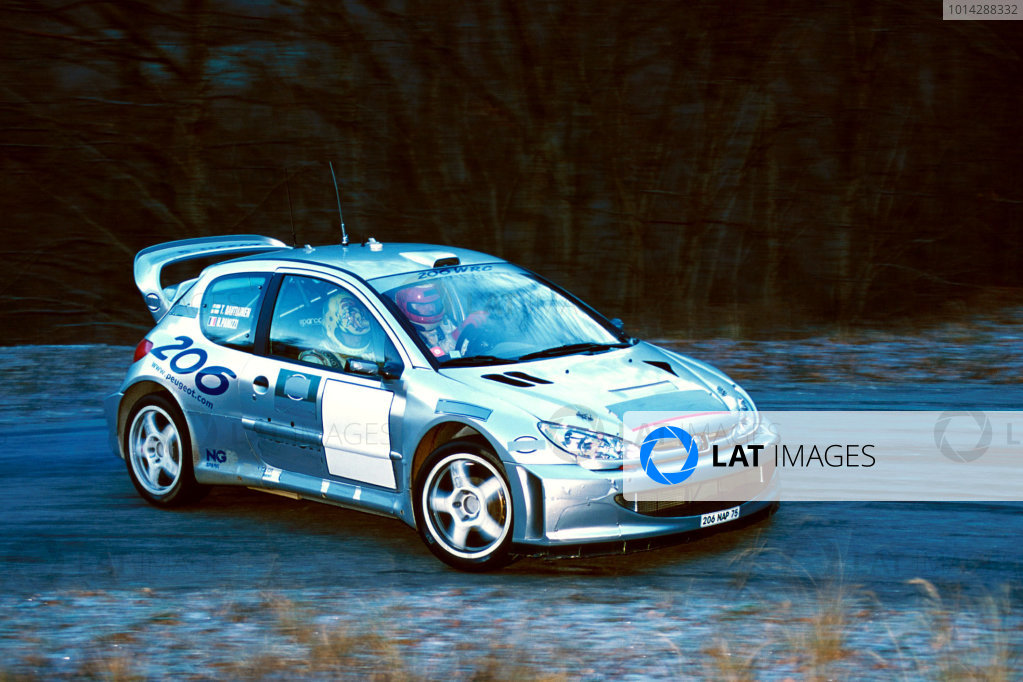 2001 World Rally Testing Didier Auriol tests the Peugeot 205 WRC. World Copyright: Photo4/ LAT Photographic.