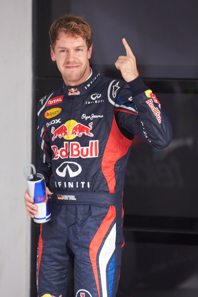 2012 Indian Grand Prix - Saturday Buddh International Circuit, New Delhi, India. 27th October 2012. Sebastian Vettel, Red Bull Racing, celebrates pole. World Copyright:Steve Etherington/LAT Photographic ref: Digital Image SNE27261 copy