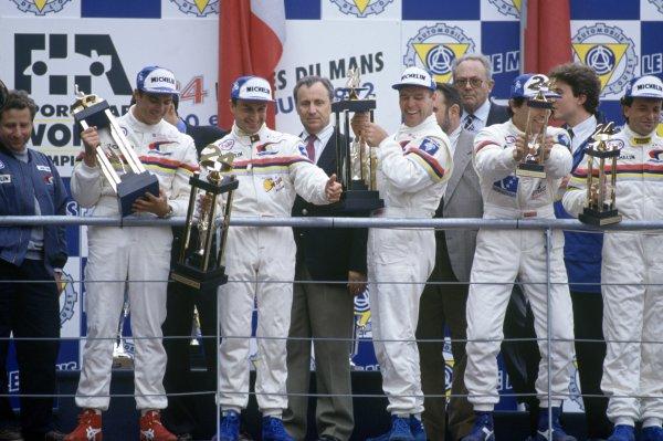 1992 Le Mans 24 Hours. Le Mans, France. 20th - 21st June 1992. Mark Blundell/Derek Warwick/Yannick Dalmas (Peugeot 905 Evo 1) 1st position, podium. World Copyright: LAT Photographic. Ref: 92LM06
