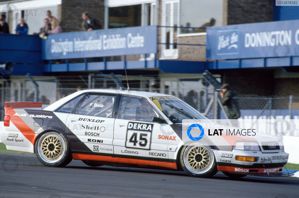 1991 DTM German Touring Car Championship Donington Park, Great Britain Frank Biela (Audi).World Copyright: LAT Photographic