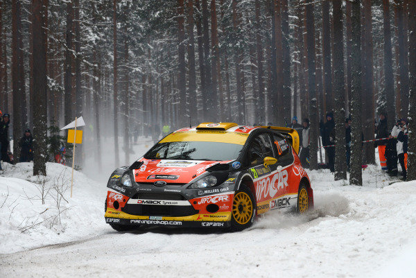 Martin Prokop (CZE) and Michal Ernst (CZE), Ford Fiesta RS WRC on stage 14. FIA World Rally Championship, Rd2, Rally Sweden, Karlstad, Sweden, Day Two, Saturday 9 February 2013.