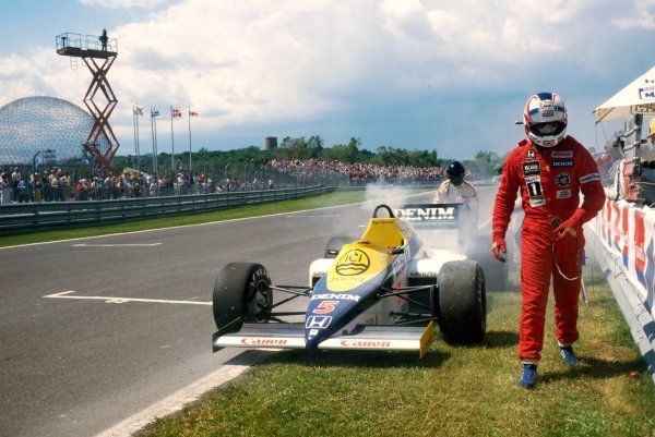 Nigel Mansell (GBR) walks from his Williams FW10 during Saturday qualifying when he suffered a problem with a Honda turbo. He went on to finish the race in sixth position. Canadian Grand Prix, Rd 5, Montreal, Canada, 16 June 1985. BEST IMAGE