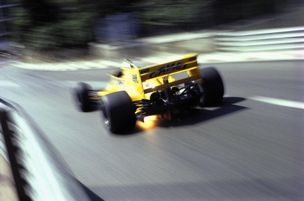 Ayrton Senna, Lotus 99T Honda, with exhaust flames.