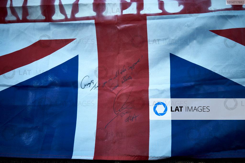Circuit of the Americas, Austin Texas, USA. Saturday 22 October 2016. Flag signed by Lewis Hamilton, Mercedes AMG. World Copyright: Steve Etherington/LAT Photographic ref: Digital Image SNE29830