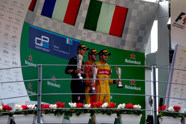 2016 GP2 Series Round 9. Autodromo Nazionale di Monza, Monza, Italy. Sunday 4 September 2016. Pierre Gasly (FRA, PREMA Racing), Norman Nato (FRA, Racing Engineering), Antonio Giovinazzi (ITA, PREMA Racing)  Photo: Zak Mauger/GP2 Series Media Service. ref: Digital Image _L0U6184
