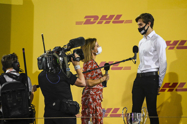 Natalie Pinkham, Sky TV interviews F3 2nd place Theo Pourchaire (FRA, ART GRAND PRIX) on the podium