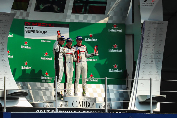 Race winner Matt Campbell (AUS) Fach Auto Tech, second place Michael Ammermuller (GER) Lechner MSG Racing Team and third placed Dennis Olsen (DEN) Walter Lechner Racing celebrate on the podium at Porsche Supercup, Rd11 Circuit Hermanos Rodriguez, Mexico City, Mexico, 27-29 October 2017.