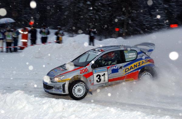 2002 World Rally ChampionshipUddeholm Swedish Rally, 1st-3rd February 2002.Sebastian Lindholm on stage 1.Photo: Ralph Hardwick/LAT