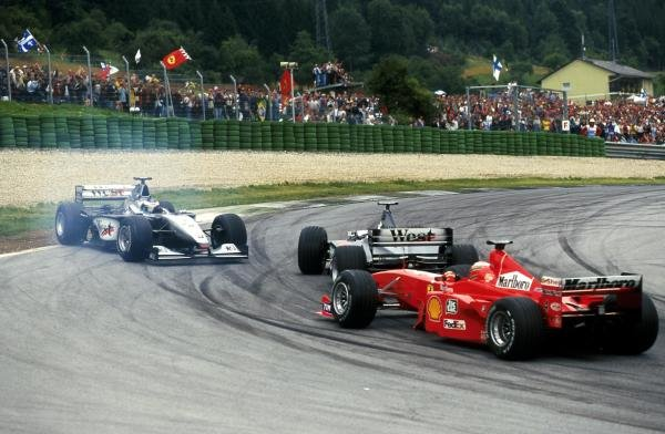 Mika Hakkinen spins after being hit by Team mate David Coulthard Austrian GP, A1 Ring, 25 July 1999
