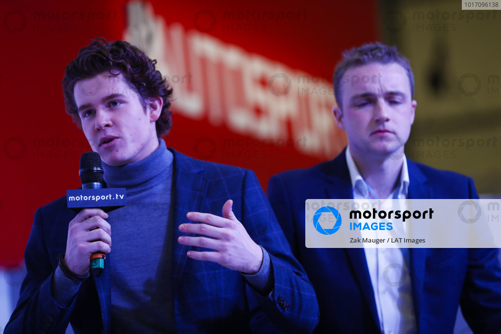 JWRC driver Tom Williams talks on the Autosport Stage.