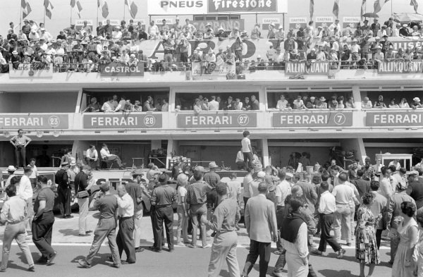 Fans pack the pit area.