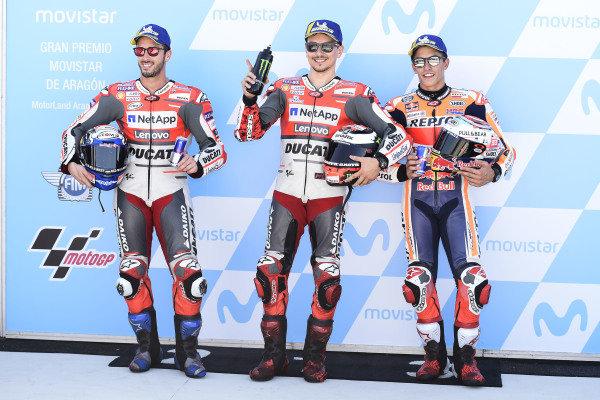 Qualifying top three: Andrea Dovizioso, Ducati Team, Jorge Lorenzo, Ducati Team, Marc Marquez, Repsol Honda Team